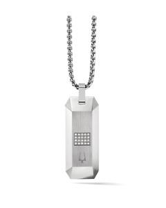 *BRAND NEW* Bulova Men's 20 1.0mm White Diamonds Steel Dog Tag Pendant J96N002