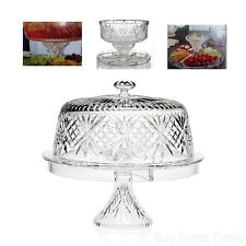 Crystal Cake Dome Saver Stand Glass Plate Lid Salad Bowl Pedestal Base Party New