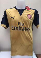 Arsenal Camisa De Fútbol Lejos Jersey 2015 2016 Pequeño S Nuevo Etiquetas BNWT oro
