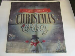 """NEW WELCOME CHRISTMAS PARTY SNOWMAN PILLOW COVER CASE 17""""X17"""""""