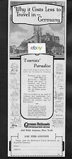 GERMAN RAILROADS 1927 TOURIST'S PARADISE COST LESS TO TRAVEL IN GERMANY AD