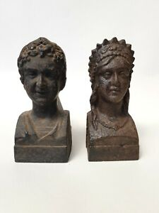 Antique-French-Pair Of Iron Bust Portrait Fire Dogs-Regent Gentleman & Lady-1850