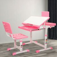 Student Desk and Chair Set Height Adjustable Children School Study Desk Pink