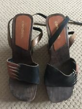 CANDIES Brown & Tan Cuir Bois Talon Compensé Chaussures Taille UK 5 EUR 38