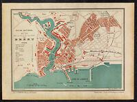 1896 - Brest et son port - Plan ancien de la ville - Bretagne - Gravure carte