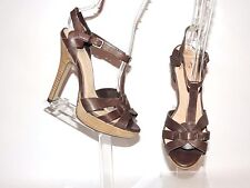 FAITH CHOCOLATE LEATHER STRAPPY SANDALS UK SIZE 3. EU36