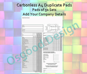 BODY SHOP garage Visual Vehicle Quote CAR Company Carbonless Duplicate Book CP25