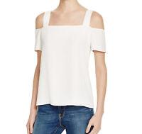 Cooper & Ella Size XS Blouse Womens White Cutout Cold Shoulder Ava Top