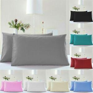 4 x Pillow Cases 100% Egyptian Cotton 200TC White Plain Dyed Pillow Pack of 4
