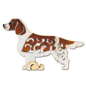 Welsh Springer Spaniel Dog Wood Figurine Unique Gift Hand-Painted