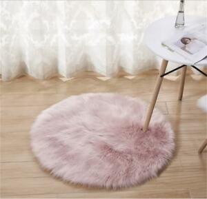 Luxury Faux Fur Rug Carpet 2' Round Pink Home Decor Kids Bedroom Living Room