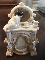 "Antique Victorian Porcelain Fairing Box Child And Mirror 4"""
