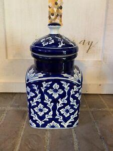 NEW Blue & White Handpainted Oriental Floral Ceramic Cookie Jar Decor