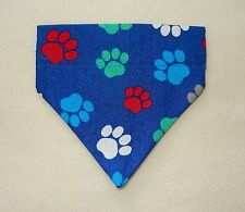 BRIGHT PAW PRINTS ON ROYAL BLUE DOG SCARF--SMALL