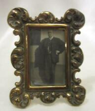 """Antique Miniature Picture Frame -  Brass With Ornate Edge  3-1/2"""" x 2-3/4"""""""