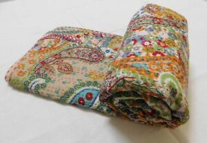 Indian Cotton Kantha Quilt Bedding Coverlet Bed Cover Blanket Bedspread Paisley