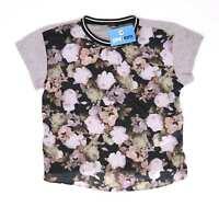 New Look Womens Size 12 Floral Grey T-Shirt (Regular)