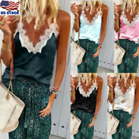 Womens Ladies Tank Tops Cami Lace Casual Plain Sleeveless Camisole Vest T-Shirts