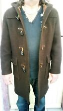 QUALITY GLOVERALL THE ORIGINAL CLASSIC DARK BROWN DUFFLE COAT MADE IN ENGLAND.