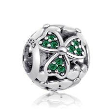 Shamrock And Lucky Four Leaf Clover Charm Bead 925 Sterling Silver