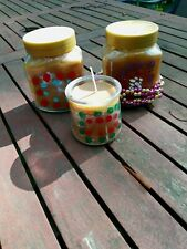 3 Beeswax Candles *two are scented with cinnamon leaf oil 16oz+ 5oz