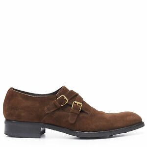 TOM FORD brown suede leather dual strap gold tone buckle monk dress shoe UK10