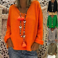 Lady Women Autumn Knitted Sweater Blouses Ladies V-neck Baggy Loose Jumper Tops