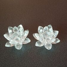 Swarovski crystal flower candle holders decor Set of 2 Swan Collectible Display