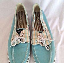 Women's Sperry Top-Sider Light Blue Plaid Trim Canvas Boat Deck Shoes US 11M