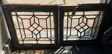 Pr Of Antique American All Heavy Beveled Architectural Geometric Windows