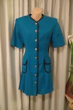VINTAGE 80'S ~ DOLLY DOLLY ~ Aqua/Black/Pleats Hem  DRESS * Size 10 * REDUCED !!