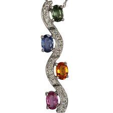 Sapphire Necklace Diamond Pendant September Birthstone Sapphire Pendants In 14k