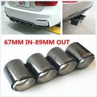 4Pcs Real Carbon Fiber 67MM IN-89MM OUT Universal Car Muffler Exhaust Tips Pipe