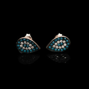 Arizona Sleeping Beauty Nano Turquoise Earrings Studs 925Sterling Silver Jewelry