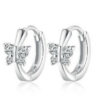 Ladies Elegant 925 Sterling Silver Natural Crystal Butterfly Ear Hoop Earrings