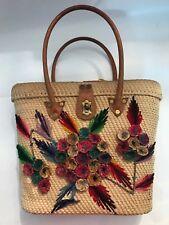 Vintage Straw bag Hawaiian Wicker Purse Beachy Mod Rockabilly Bombshell Flowers