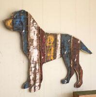 Rustic Wooden Dog Wall Hanging Reclaimed Wood Dog Wall Art Decor