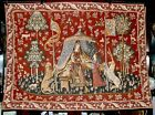 Vintage FRENCH 'The Lady And The Unicorn' Woven Mille-Fleurs Gobelin Tapestry