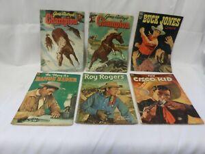 Lot of 6 Dell Western Comics Roy Rogers Range Rider Buck Jones Cisco Kid Autry