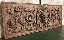 17th angel scroll leaf wood carving panel Antique french architectural salvage