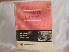 Massey Ferguson Mf 1500 1800 Tractor Operators Owners Manual Original Good Cond
