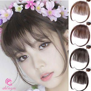 Thin Neat Air Bangs 100% Real Human Hair Clip in Front Fringes Hair Extensions