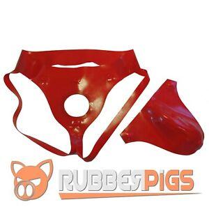 Rubber Codpiece Jockstrap, premium thick rubber, detachable Red pouch