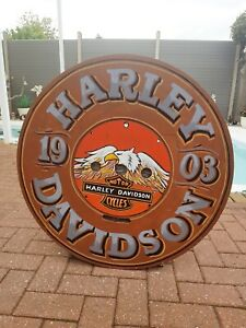 Harley Davidson Painted Wooden Table Top Sign