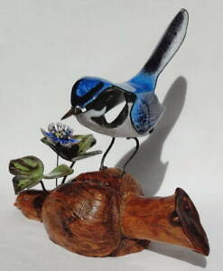 Brumm enamel bluebird w/ blue hepatica on burl wood, perfect condition - NR