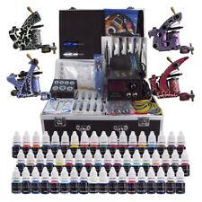 Complete Tttoo Kit 4 Tattoo Machine Gun 54 Inks Power Supply Needle Grips TK456