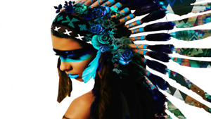 Extra Large Warrior Headdress Native Indian Girl Poster 120x90cm wall poster
