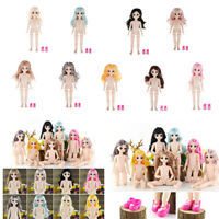 Kugelgelenk Mädchenpuppen Bewegliche Puppe mit Haare und Schuhe für 28cm BJD