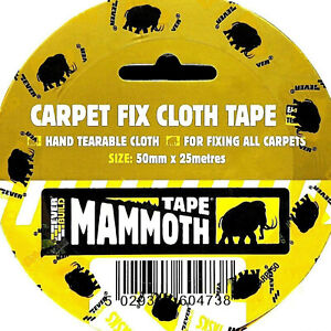50mm x 25m Carpet Double Sided Cloth Tape Heavy Duty adhesive floor lino rug fix
