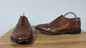 Vintage Richleigh Haste Mens Brown Leather Oxford Brogue Dress Shoes - UK Size 7